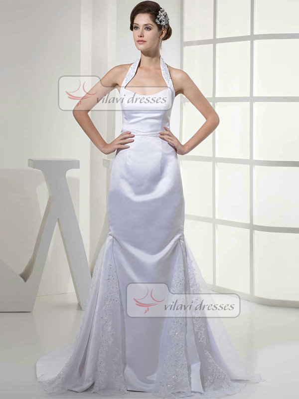 A-line Halter Brush Train Satin Sashes Lace Wedding Dresses