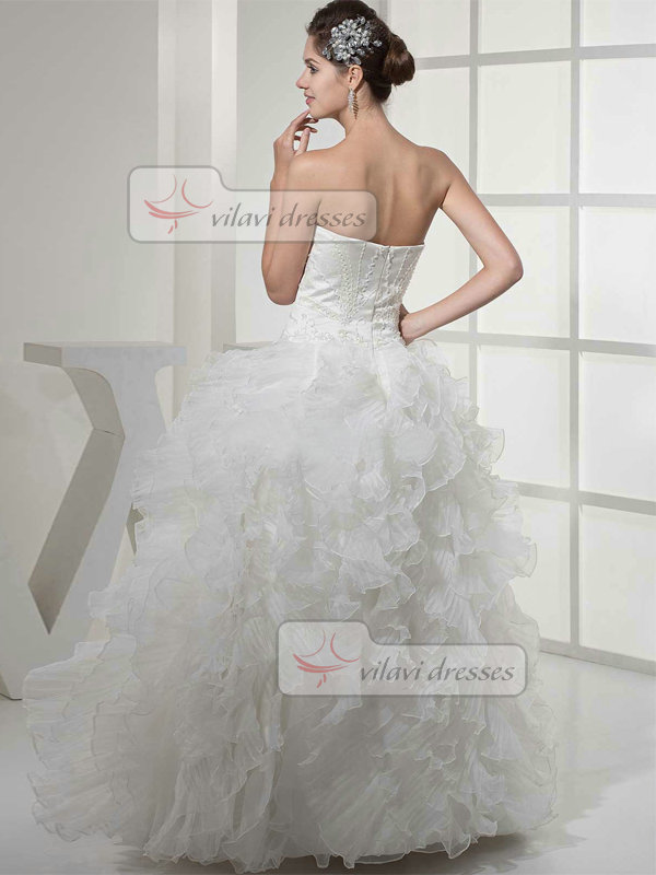 Princess Sweetheart Floor-length Organza Beading Wedding Dresses With Ruffle