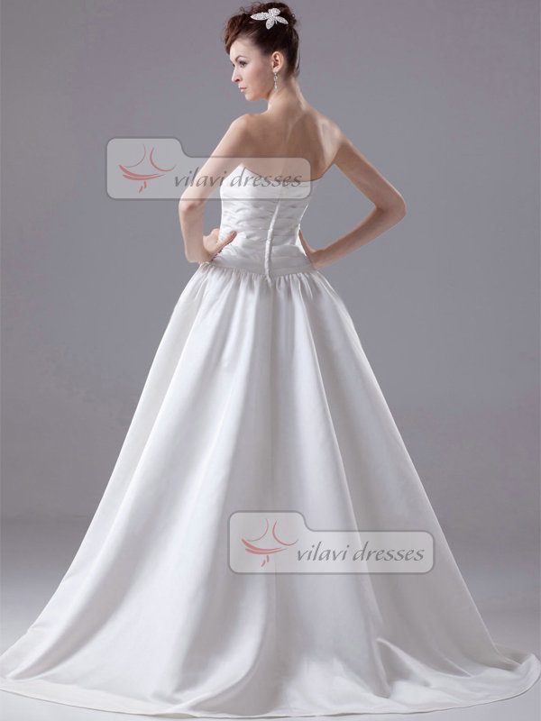 Ball Gown Sweetheart Sweep Satin Flower Draped Wedding Dresses