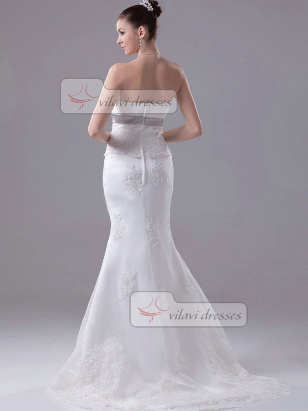 Mermaid Tube Top Brush Train Organza Beading Sequin Wedding Dresses