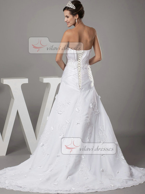 Over Hip Sweetheart Brush Train Satin Flower Beading Wedding Dresses