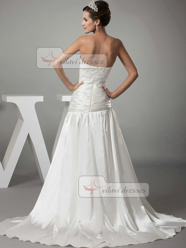Over Hip Sweetheart Brush Train Stretch Satin Draped Wedding Dresses With Beading