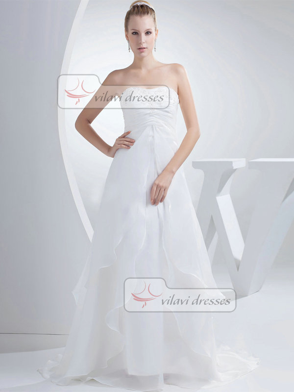 A-line Sweetheart Brush Train Organza Beading Sequin Wedding Dresses