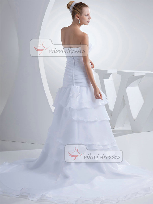 Over Hip Strapless Court Train Organza Flower Tiered Wedding Dresses