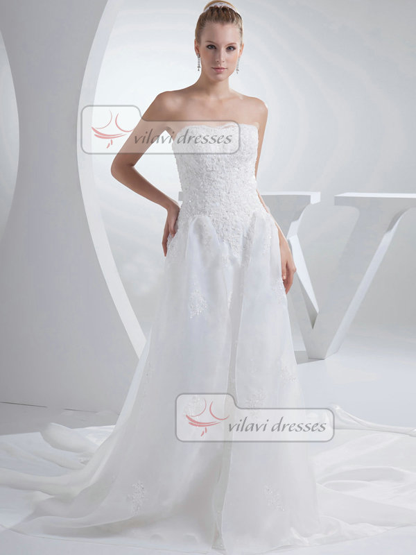 A-line Sweetheart Court Train Organza Beading Crystal Wedding Dresses