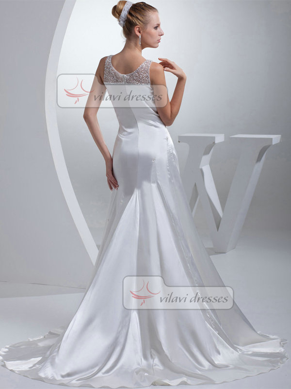 Over Hip V-neck Sweep Stretch Satin Sequin Side-draped Wedding Dresses