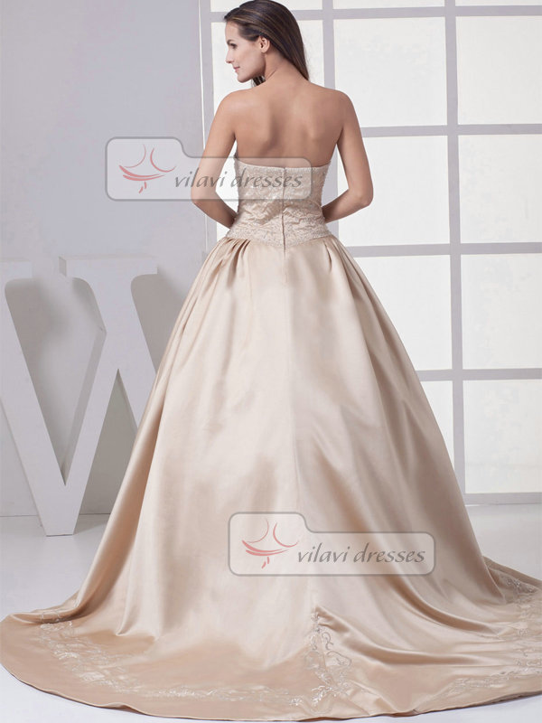 Ball Gown Sweetheart Sweep Satin Beading Embroidery Wedding Dresses