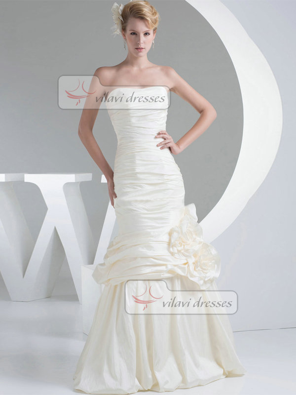 Mermaid Sweetheart Floor-length Taffeta Flower Tiered Wedding Dresses