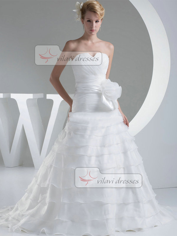 Over Hip Strapless Brush Train Organza Flower Sashes Wedding Dresses