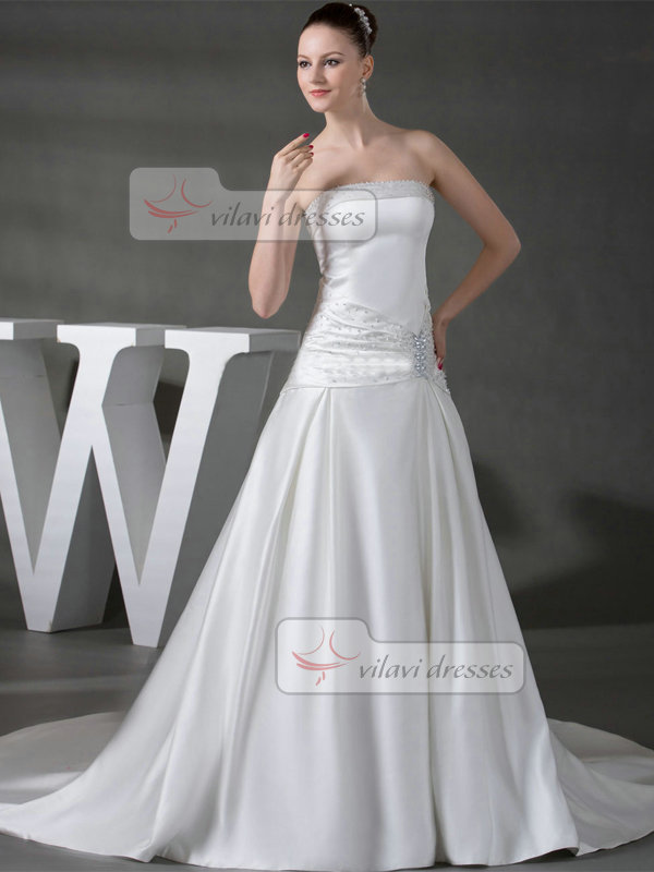 Over Hip Tube Top Court Train Satin Beading Sequin Wedding Dresses With Side-draped