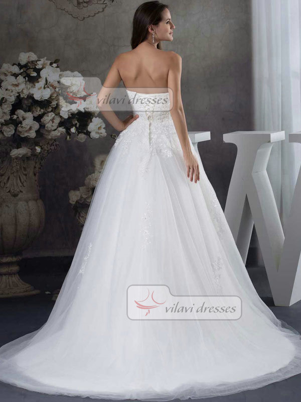 A-line Strapless Sweep Tulle Beading Sequin Wedding Dresses