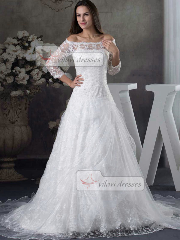 A-line Off-the-shoulder Sweep Organza 3/4 Length Sleeve Wedding Dresses With Sequin