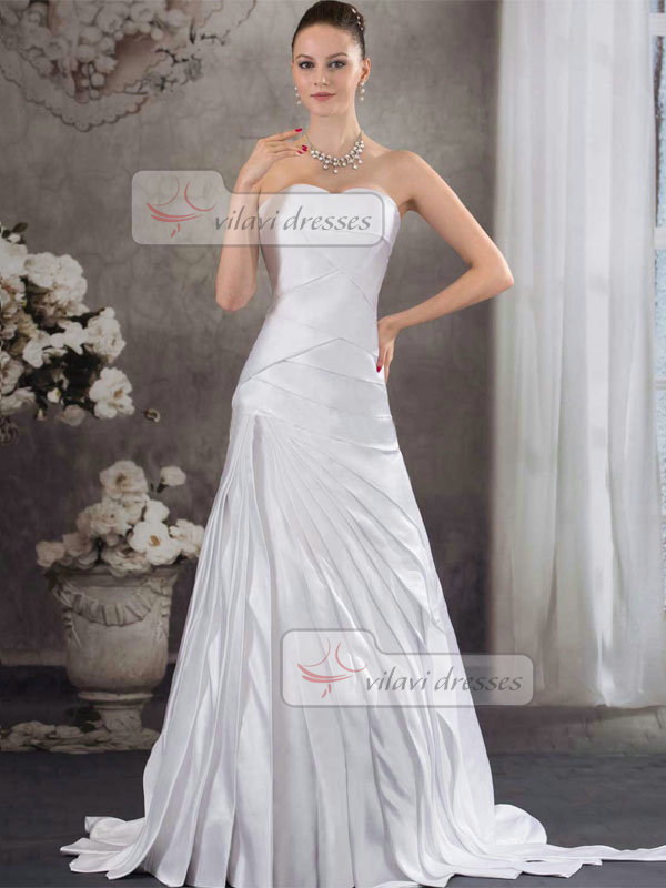 Over Hip Sweetheart Brush Train Satin Tiered Wedding Dresses