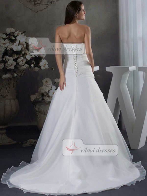Over Hip Tube Top Sweep Organza 3/4 Length Sleeve Wedding Dresses With Jacket