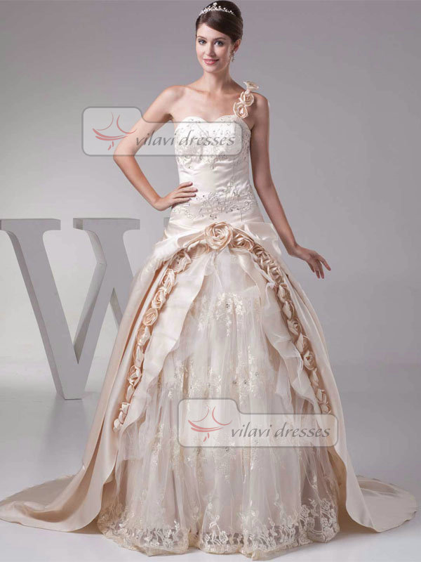 Ball Gown One Shoulder Sweep Satin Flower Embroidery Wedding Dresses