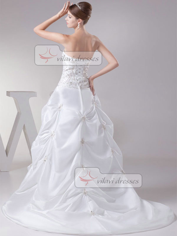 Ball Gown Tube Top Sweep Satin Embroidery Pick-Ups Wedding Dresses