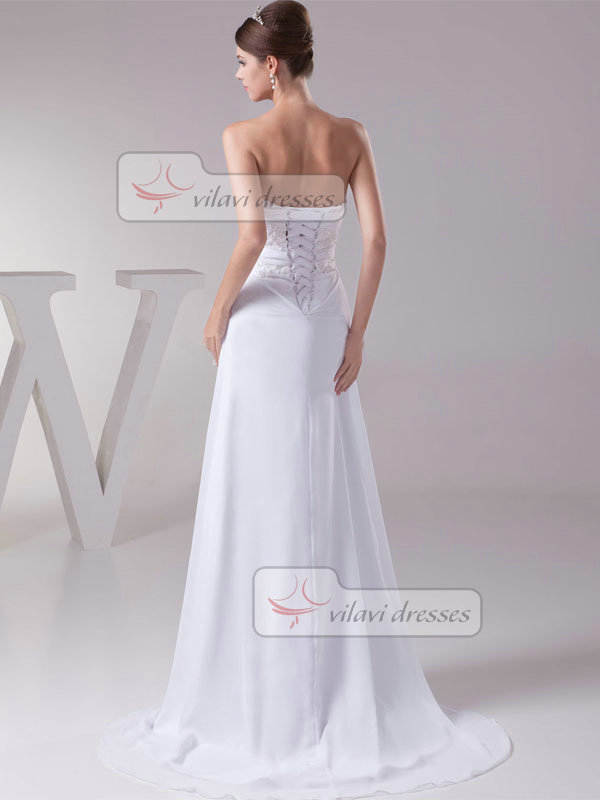 A-line Sweetheart Brush Train Chiffon Beading Wedding Dresses