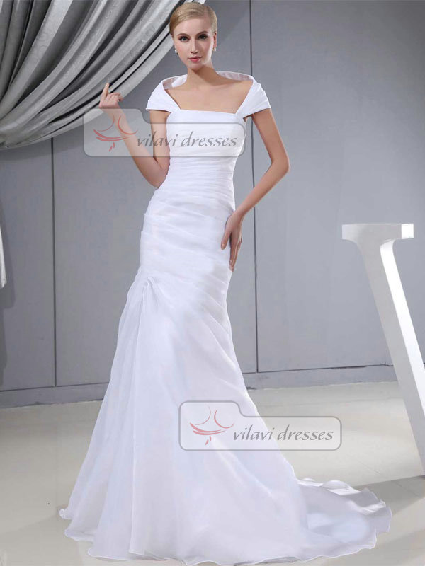 Over Hip Off-the-shoulder Sweep Organza Short Sleeve Wedding Dresses With Tiered