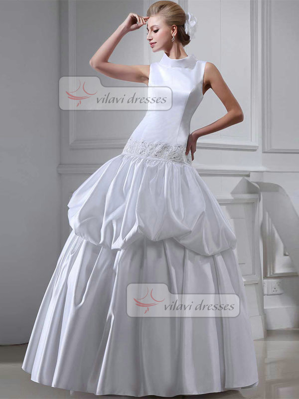 Ball Gown High Neck Floor-length Satin Sequin Pick-Ups Wedding Dresses