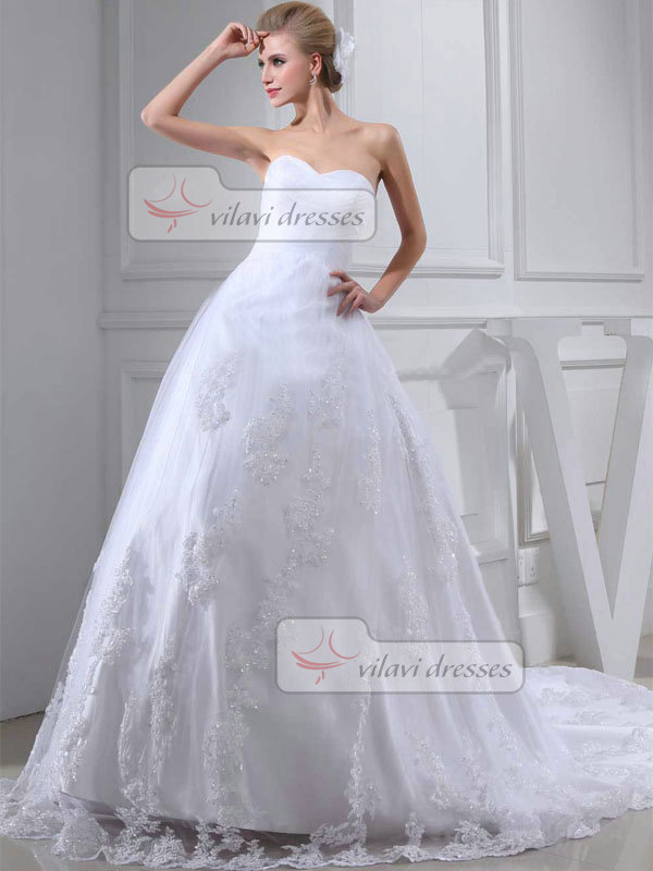 Ball Gown Sweetheart Brush Train Tulle 3/4 Length Sleeve Wedding Dresses With Sequin
