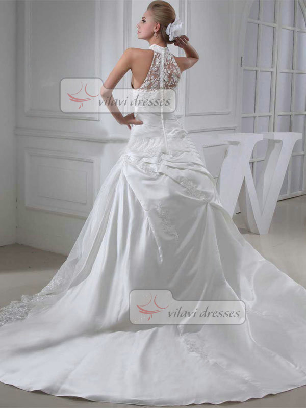 Ball Gown High Neck Court Train Satin Embroidery Wedding Dresses With Side-draped