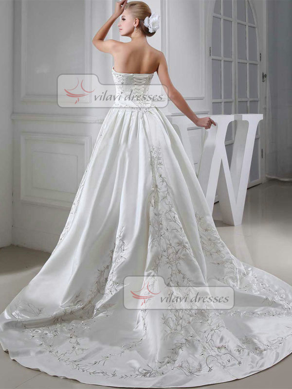 A-line Sweetheart Sweep Satin Embroidery Sequin Wedding Dresses