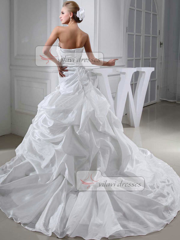 Over Hip Sweetheart Court Train Taffeta Flower Wedding Dresses With Pick-Ups