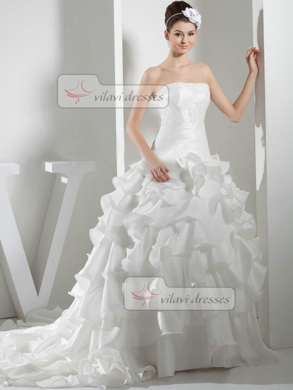 Ball Gown Tube Top Brush Train Organza Beading Ruffle Wedding Dresses