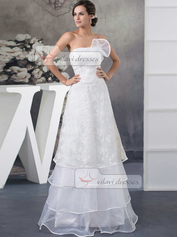 A-line Strapless Floor-length Organza Lace Wedding Dresses
