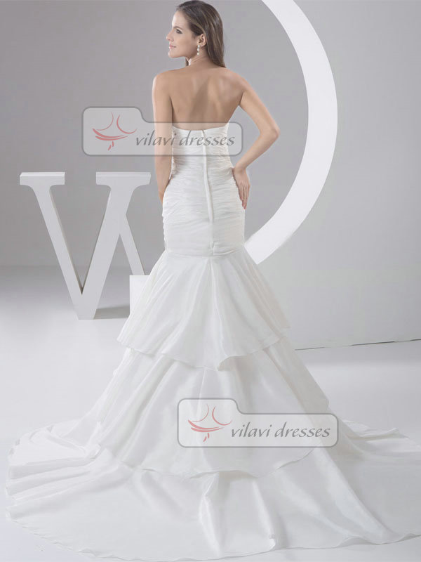 Mermaid Strapless Brush Train Stretch Satin Crystal Wedding Dresses