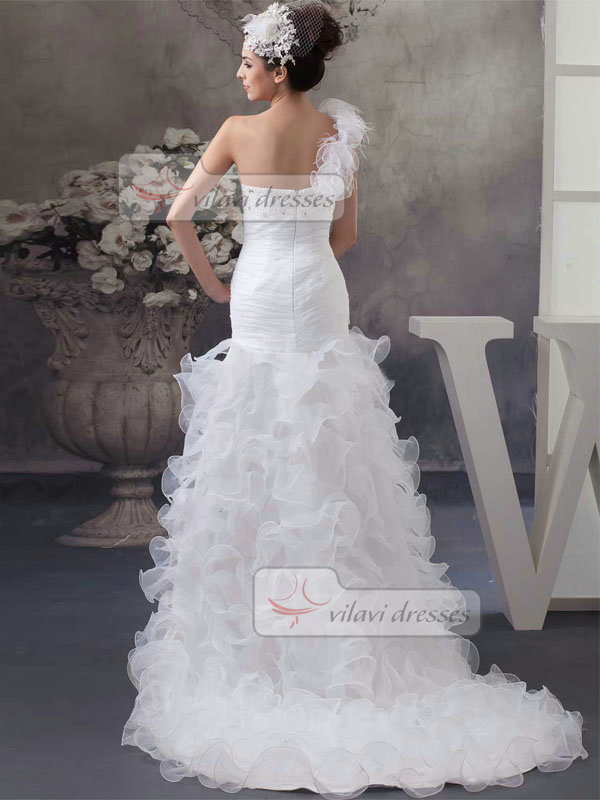 Mermaid One Shoulder Brush Train Organza Beading Ruffle High Low Wedding Dresses
