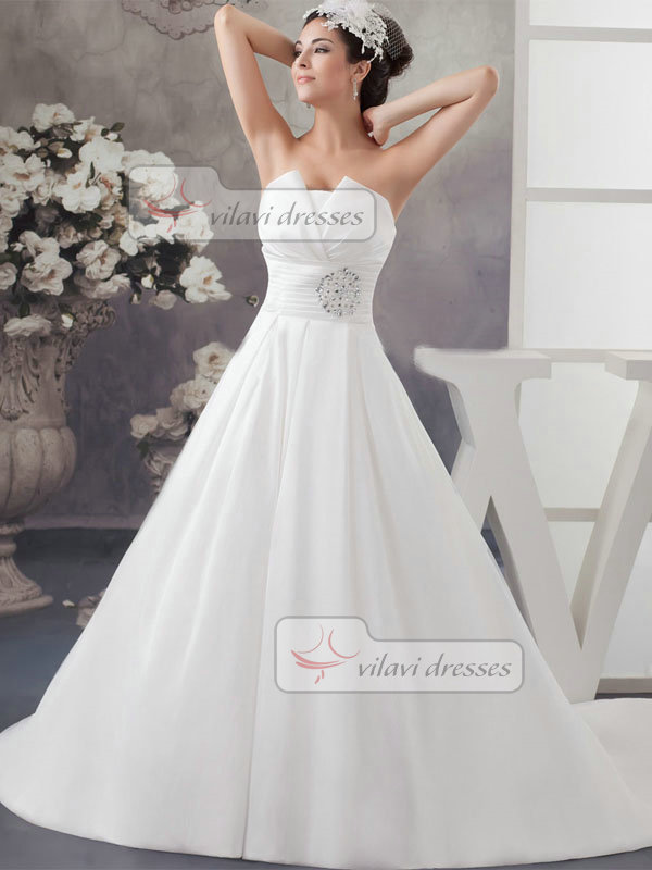 A-line Strapless Brush Train Satin Crystal Sequin Wedding Dresses