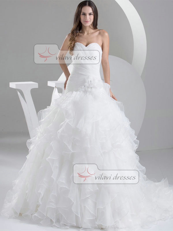 Princess Strapless Brush Train Organza Crystal Ruffle Wedding Dresses