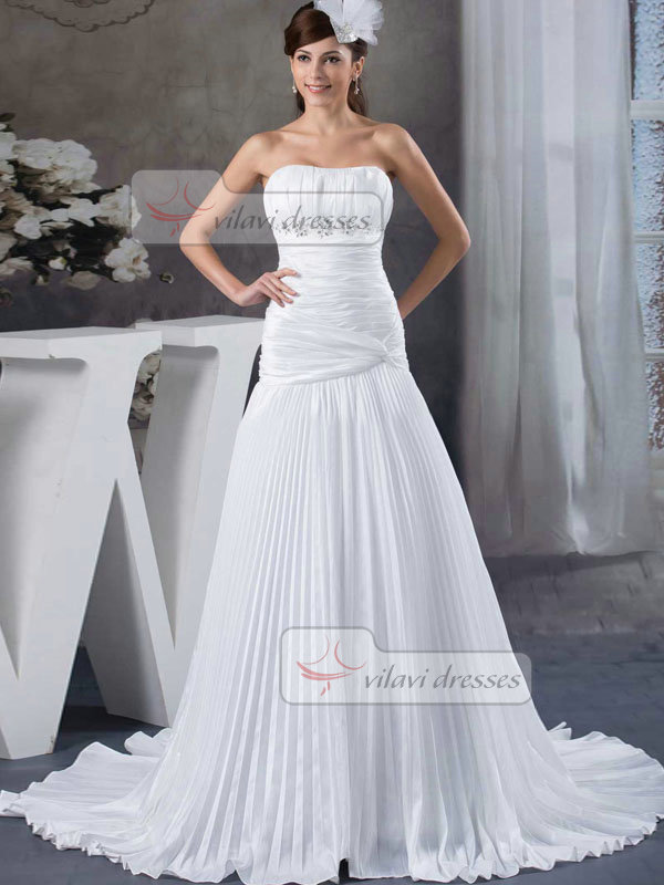 Over Hip Tube Top Sweep Stretch Satin Crystal Draped Wedding Dresses
