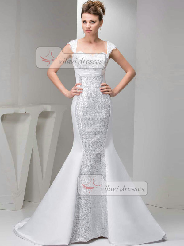 Mermaid Scalloped-edge Sweep Satin Cap Sleeves Beading Wedding Dresses