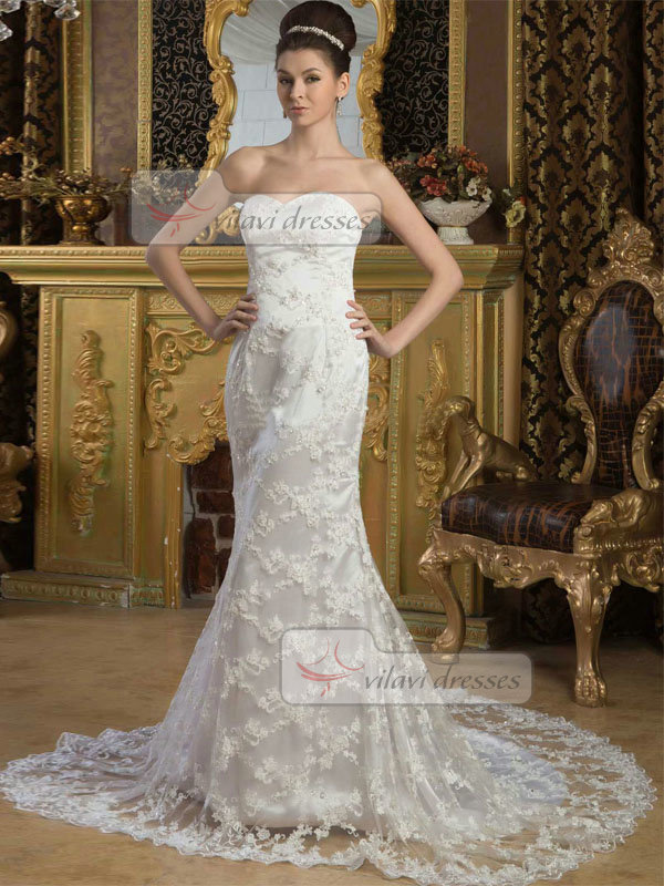 Mermaid Bateau Court Train Half Sleeve Beading Lace Wedding Dresses With Jacket