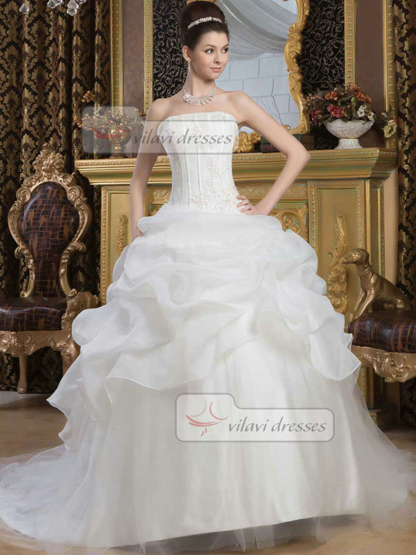 Ball Gown Tube Top Sweep Organza Crystal Pick-Ups Wedding Dresses