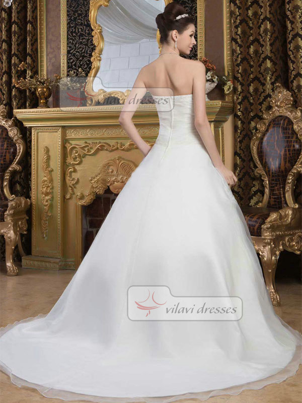 A-line Sweetheart Brush Train Organza Beading Flower Wedding Dresses