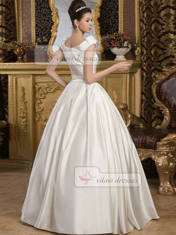 Ball Gown Scoop Floor-length Satin Draped Wedding Dresses With Cap Sleeves