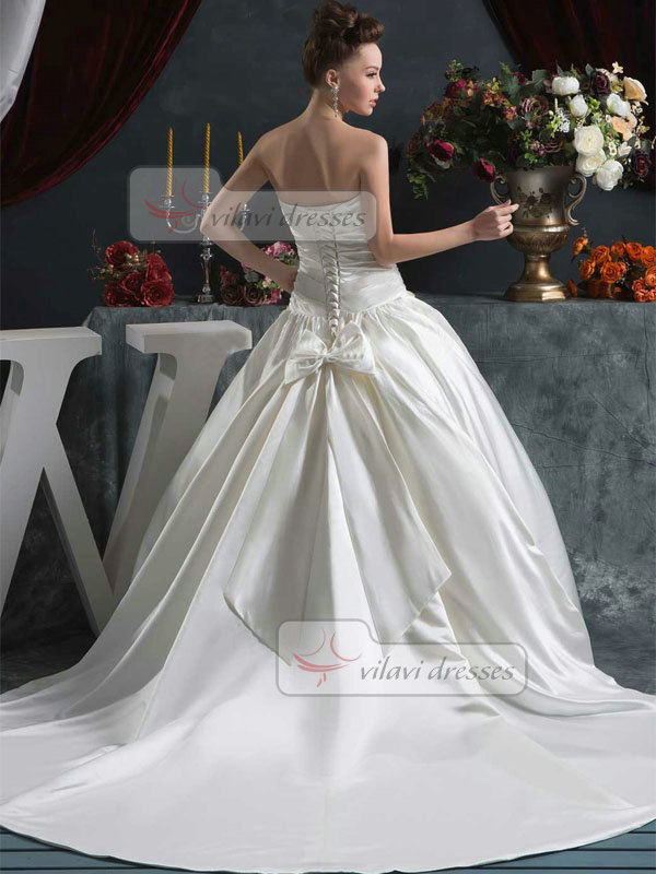 Ball Gown Strapless Court Train Satin Crystal Sequin Wedding Dresses