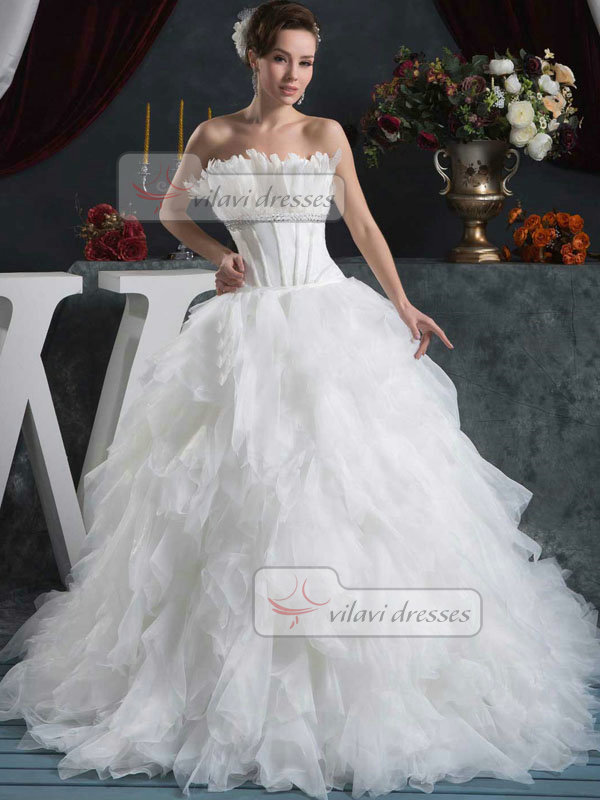 Princess Strapless Brush Train Organza Feathers Ruffle Wedding Dresses