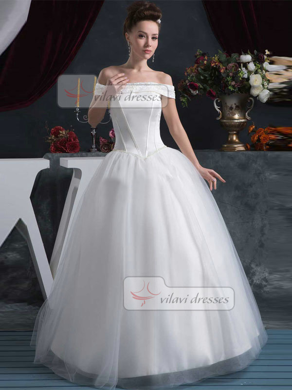 Ball Gown Off-the-shoulder Floor-length Tulle Sequin Wedding Dresses