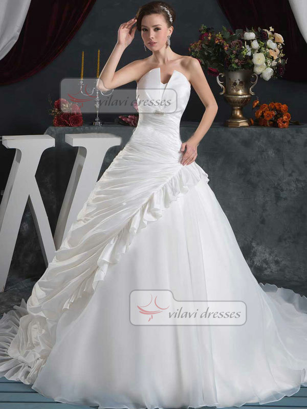 Ball Gown Strapless Brush Train Organza Pick-Ups Wedding Dresses