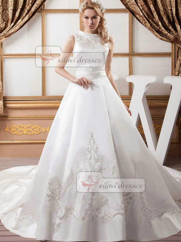 Ball Gown Round Brought Court Train Satin Beading Wedding Dresses
