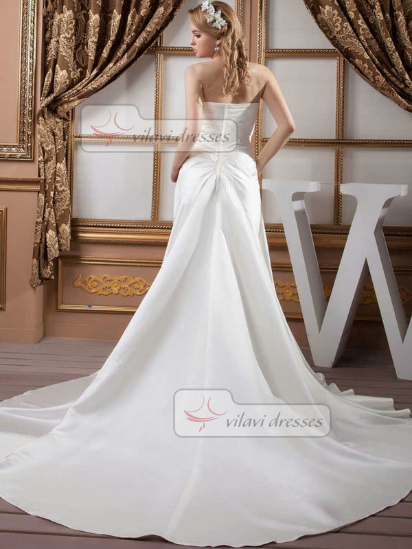 A-line Strapless Court Train Satin Beading Wedding Dresses