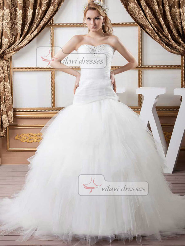 Ball Gown Strapless Brush Train Tulle Crystal Beading Wedding Dresses
