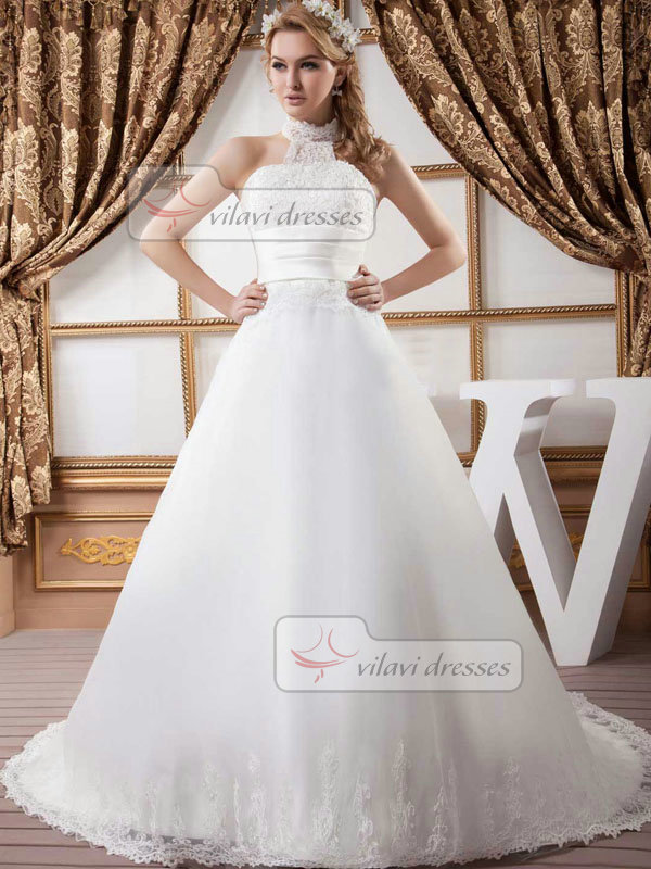 Ball Gown Halter Brush Train Tulle Beading Wedding Dresses