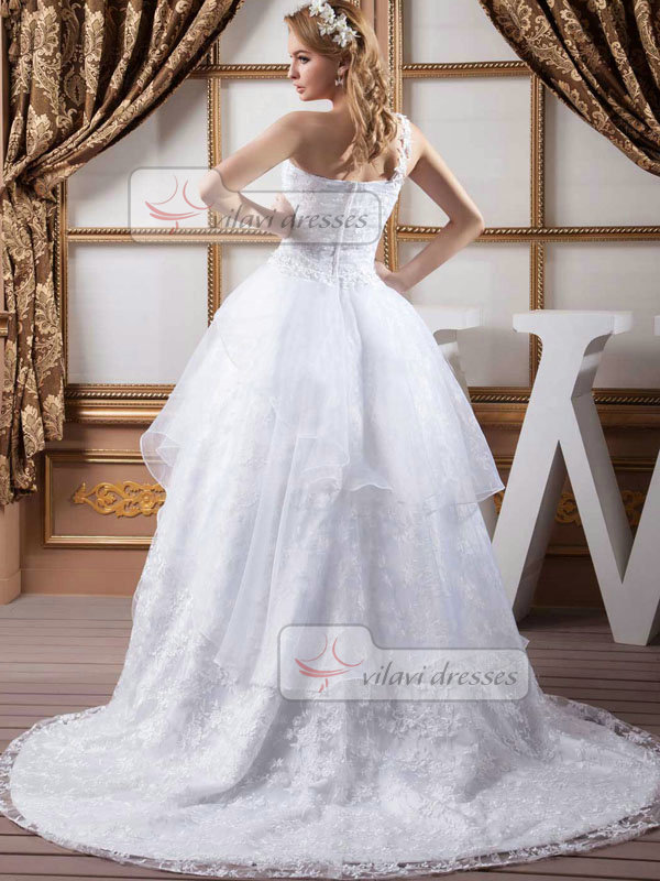Ball Gown One Shoulder Brush Train Flower Lace Wedding Dresses