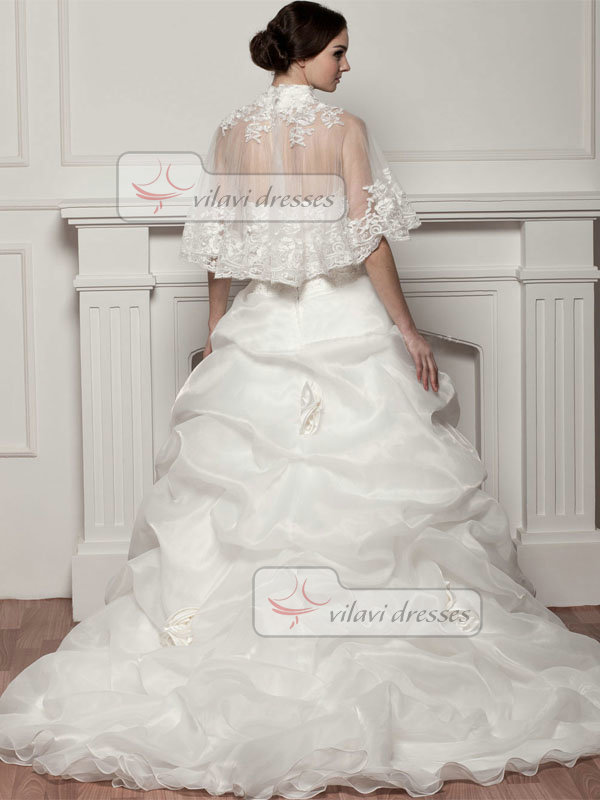 Princess High Neck Sweep Organza Semi Transparent Flower Pick-Ups Wedding Dresses With Jacket