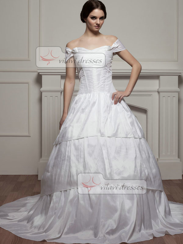 Ball Gown Off-the-shoulder Brush Train Stretch Satin Wedding Dresses With Bowknot